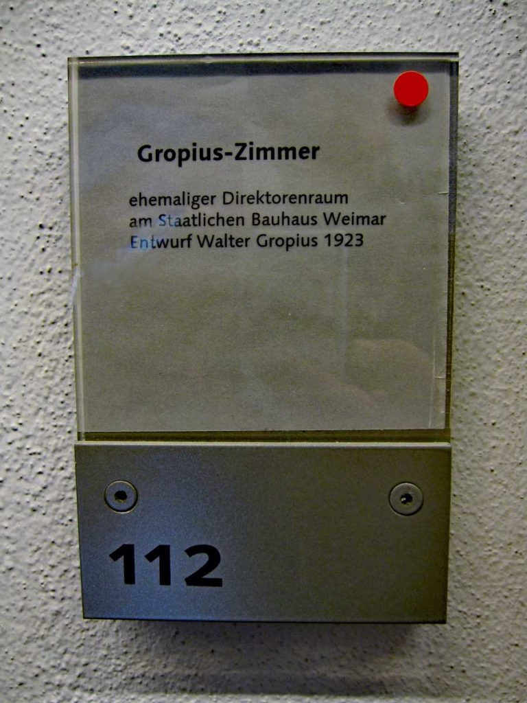 Walter Gropius office at the Bauhaus University in Weimar.