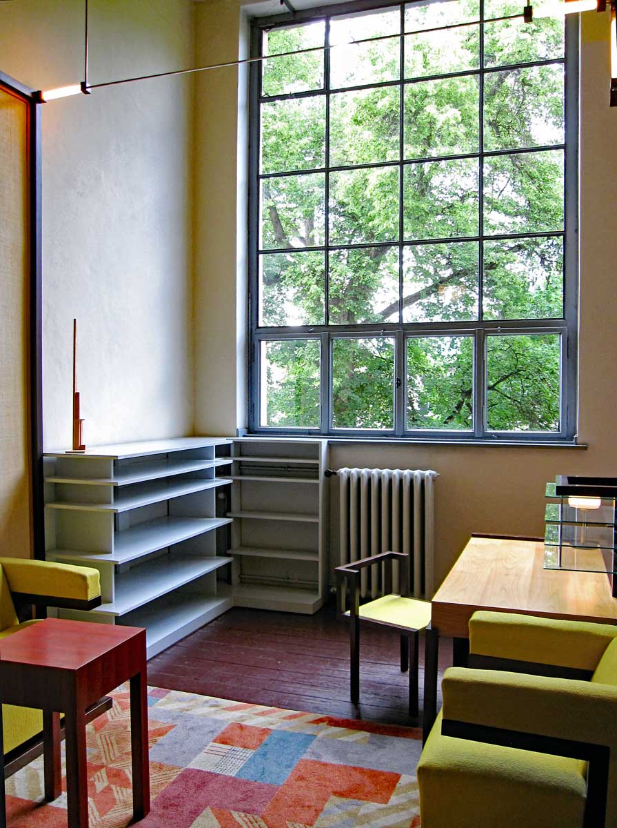 Interior of the office as it was when Walter Gropius occupied it (the furniture, fixtures and carpet are items that has been reconstructed) furniture and light fixtures designed by him and other Bauhaus students and teachers.