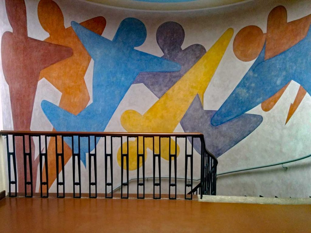 Oskar Schlemmer created this colorful mural in the staircase at the Bauhaus University main building.