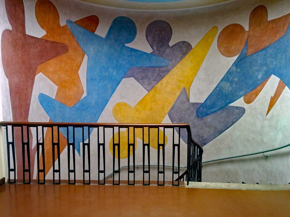 Oskar Schlemmer created this mural in the staircase at the Bauhaus University main building.