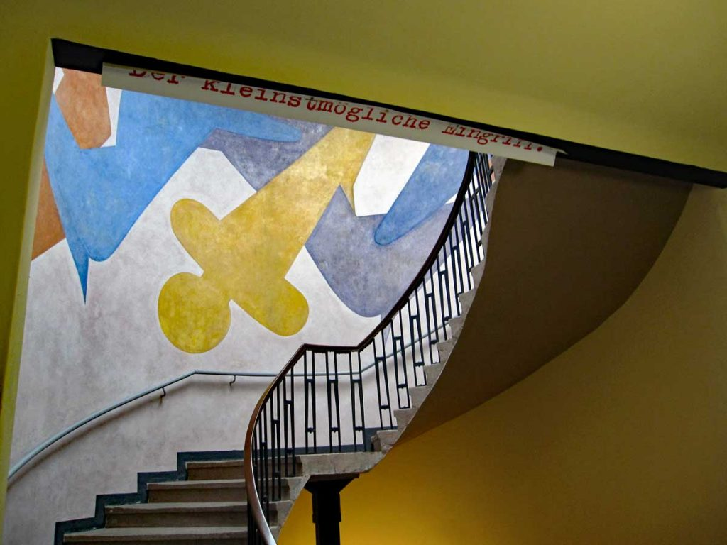 The Schlemmer mural seen from the staircase going up.