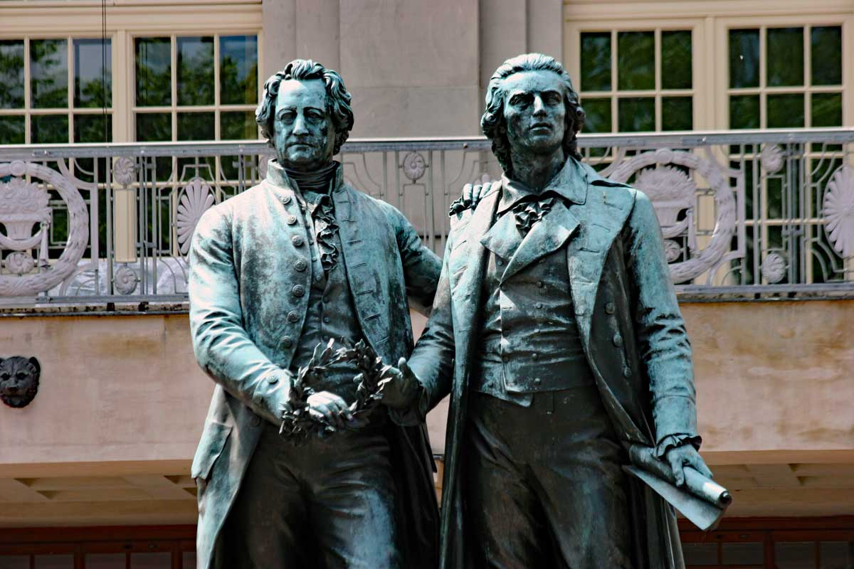 Goethe and Schiller in front of the Opera House in Weimar.