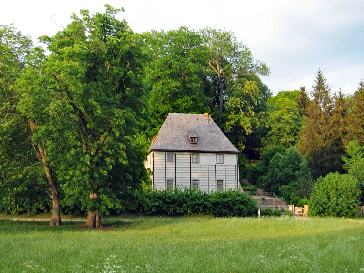 Goethe's house in the park. (This is the replica - the original is hidden to the right behind the trees.)