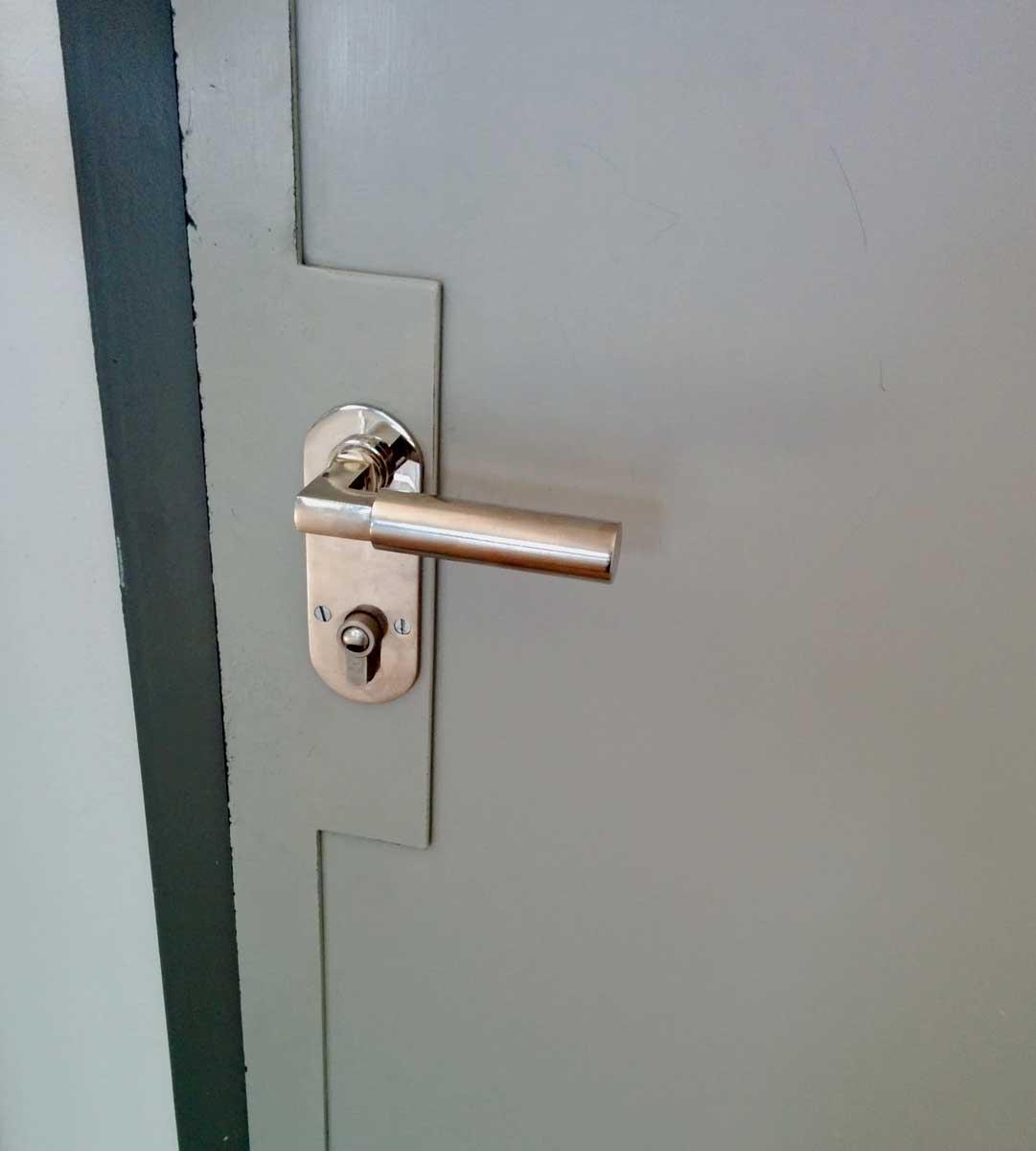 Detail of Bauhaus door hardware.