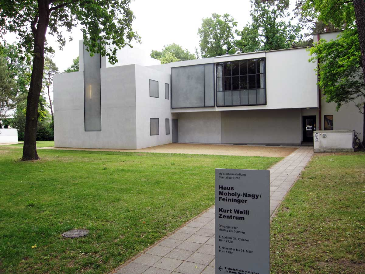 "One of the ""Meisterhauses"" in Dessau was a duplex and it was the home of László Moholy-Nagy and Lyonel Feininger. This house now houses the Kurt Weil center, the composer who was born in Dessau and who composed music for many of Bertolt Brecht's plays."