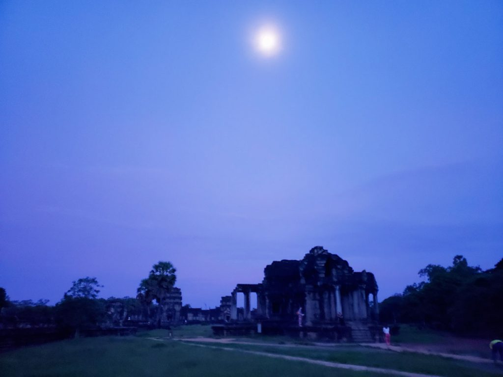 Moonshine over one of the Angkor Wat buildings.