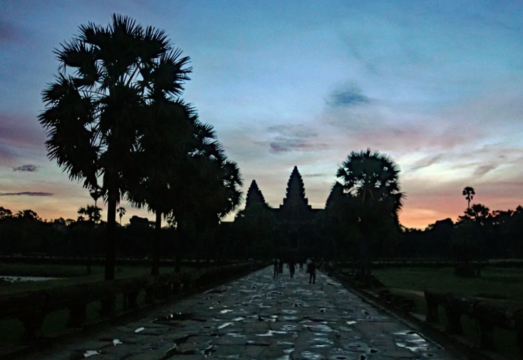 Walking up to Angkor Wat main entrance.