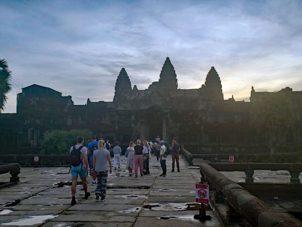 The walkway leading up to the main entrance of Angkor Wat.