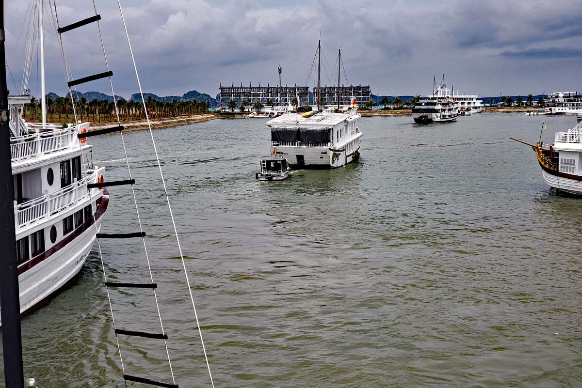 Leaving the harbor on Cat Ba island and sailing out into Ha Long Bay on the Djonk for a three day sail.