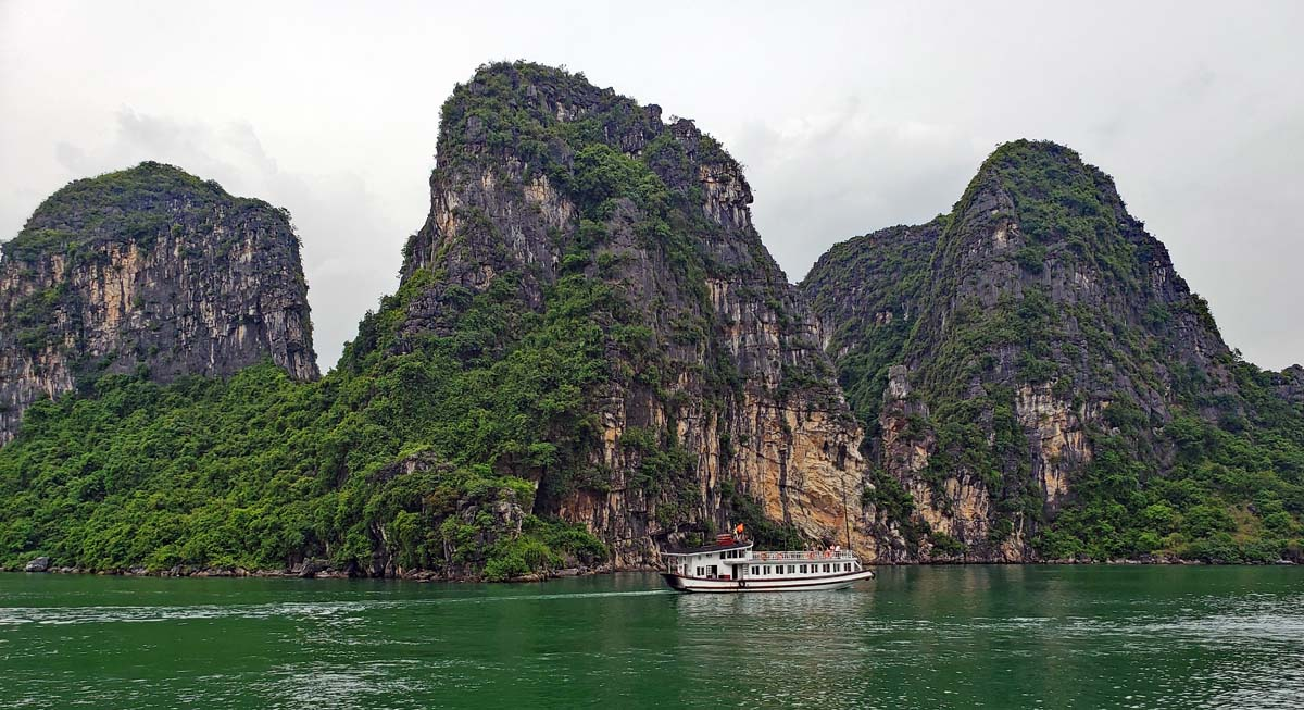 The limestone islands in Ha Long Bay are spectacular to look at.