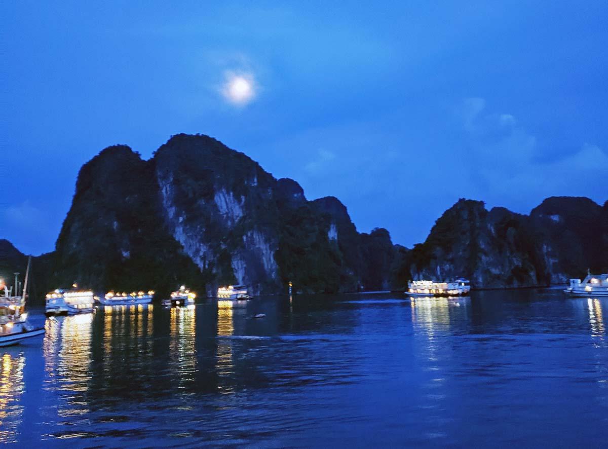Moon over Ha Long Bay.