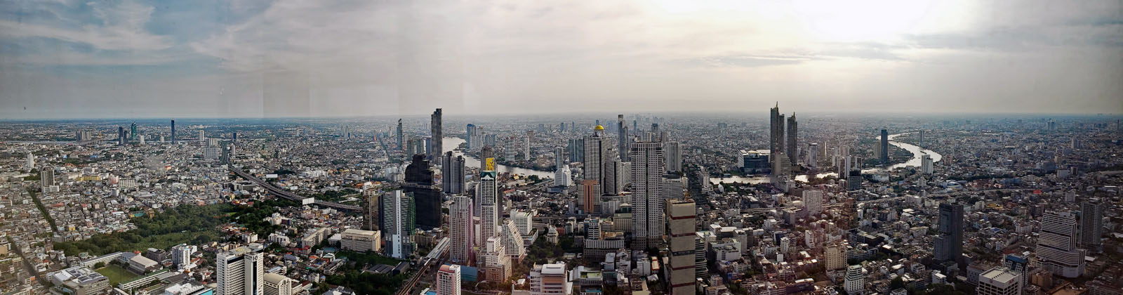 Panoramic view from the MahaNakhon looking East towards the Chao Praya River.