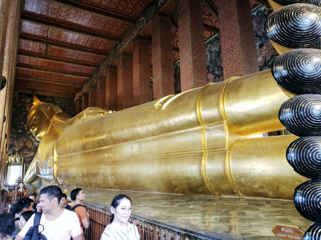 Just South of the Grand Palace is Wat Pho, a temple that also houses the reclining Buddha.