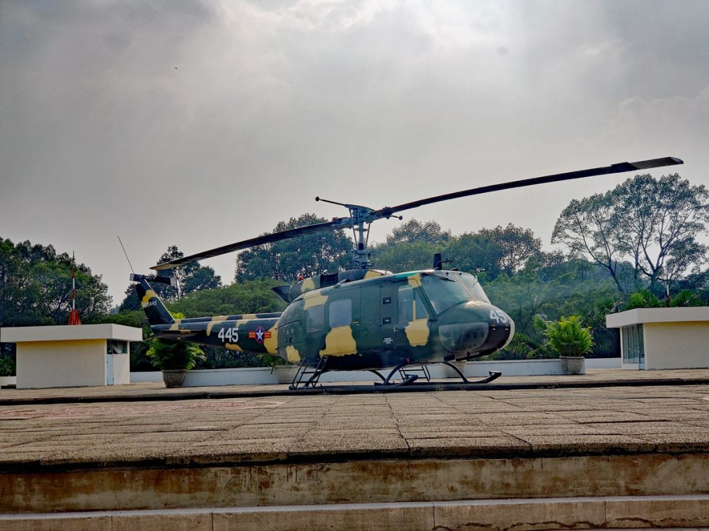 A Huey always sat at the ready on the rooftop of the Palace.