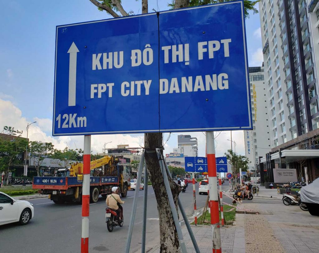 This sign points to the downtown area of Da Nang.
