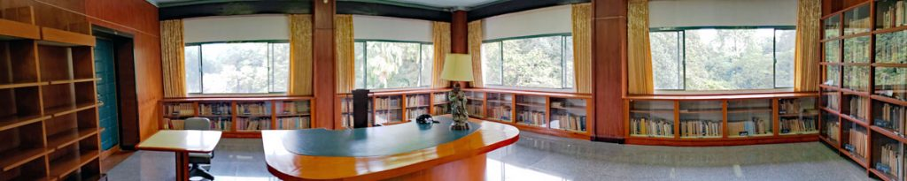 A panoramic shot of the Library.