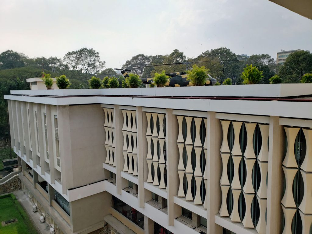 An architectural detail of the exterior of the Palace, an effective privacy screen that lets light through.