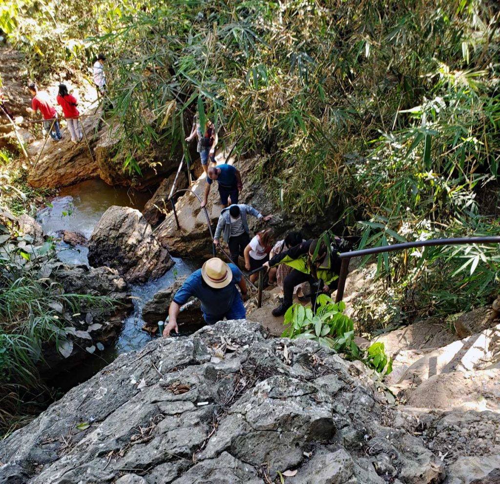 "It is a steep climb down to ""get to the bottom"" of the falls - and even trickier to get back up"
