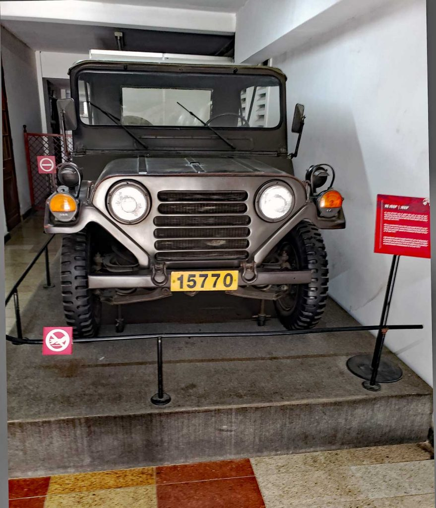 A Jeep M152n used by the last President of South Vietnam to ride to a radio station to broadcast the surrender speech.
