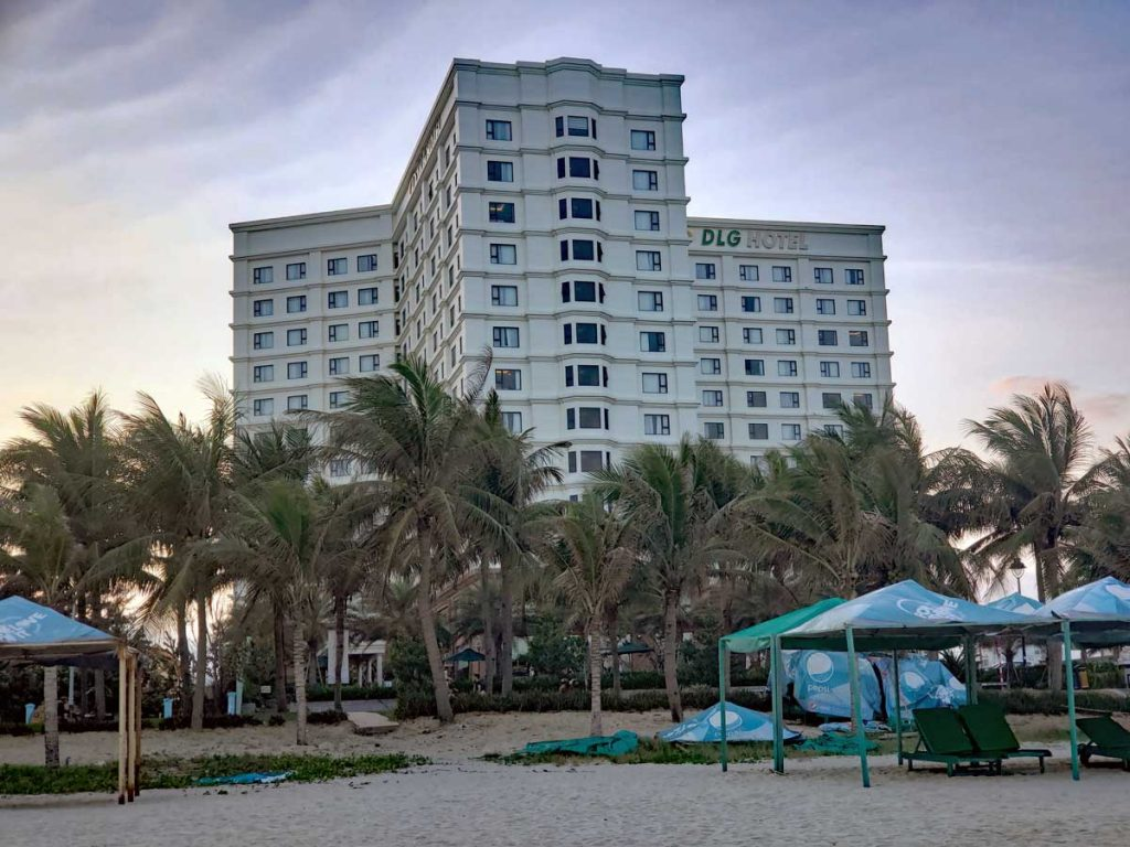 One of the hotels lining the beach road in Da Nang.