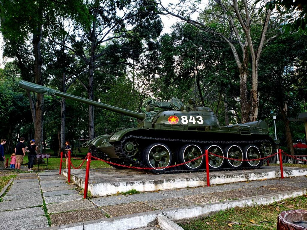 This is the North Vietnamese tank that crashed through the Palace gates on April 30 1975 marking the end of the Vietnam war.